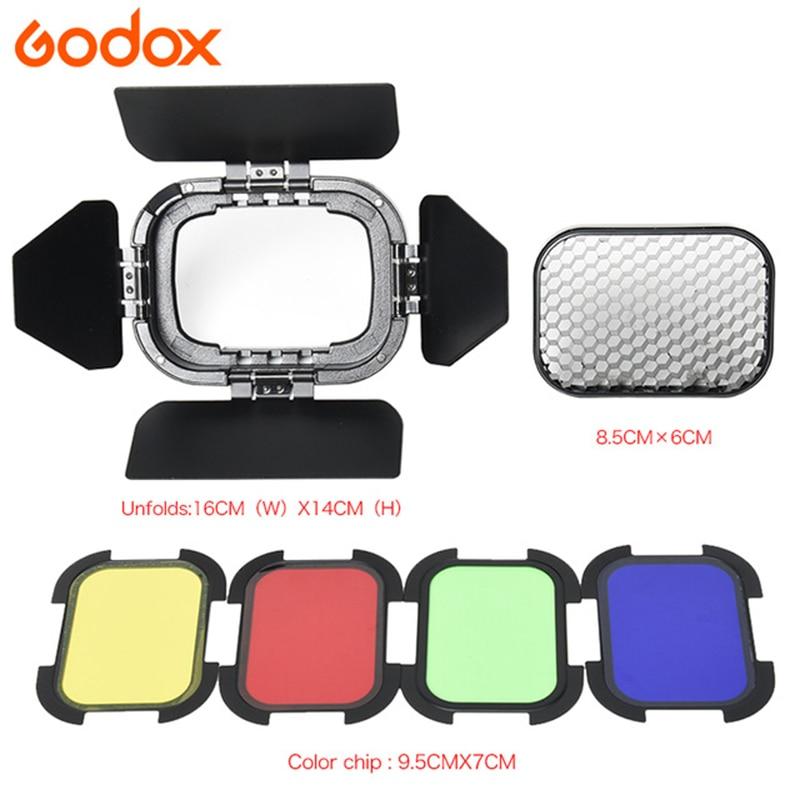 Godox BD-07 Puerta de granero con rejilla de nido de abeja desmontable y 4 filtros de Color para Godox AD200 bolsillo Speedlite Flash Head