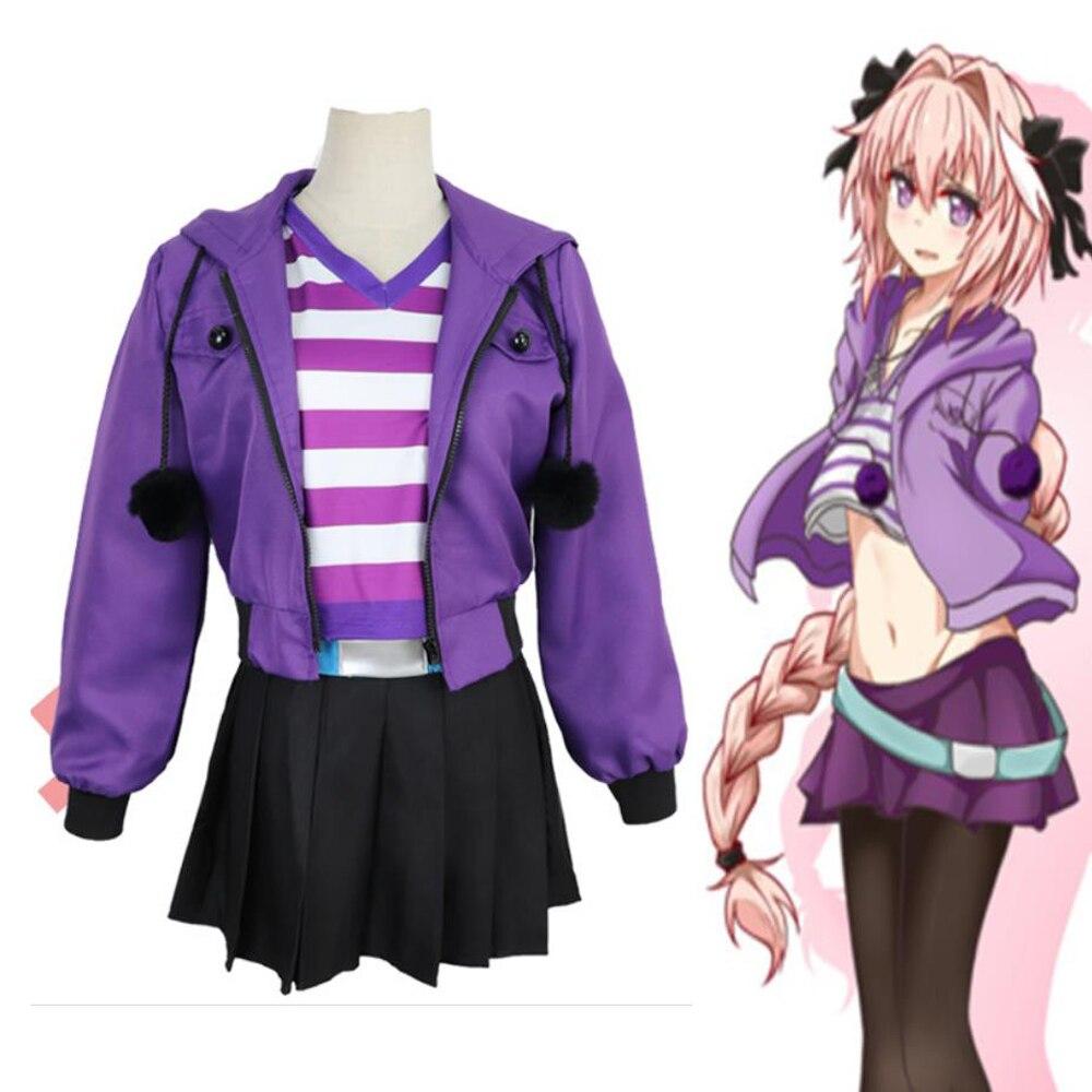 Fate apocrypha astolfo cosplay traje feminino peruca rosa roxo jaqueta saia tarja camiseta moletom moletom com zíper