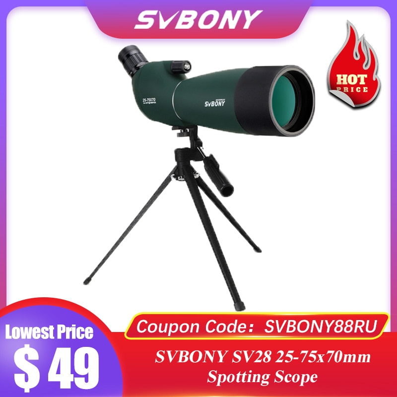 SVBONY SV28 telescope 25-75x70 Spotting Scope monocular Powerful Binoculars Bak4 Prism FMC Lens Waterproof w/ Tripod for Hunting