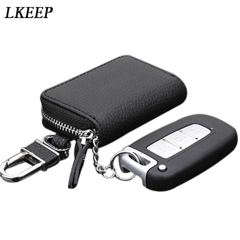 Leather Car Key Wallets Men Key Holder Housekeeper Keys Organizer Women Keychain Cover Zipper Key Ca