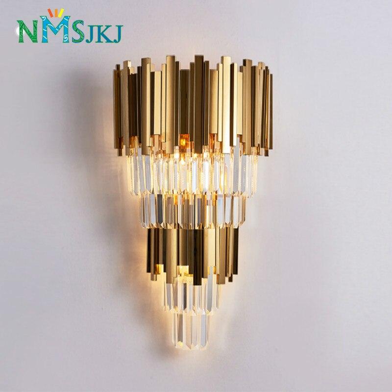 Goldene Moderne Doppel-schicht Kristall Wand Lampe Korridor Schlafzimmer Nacht Lampe