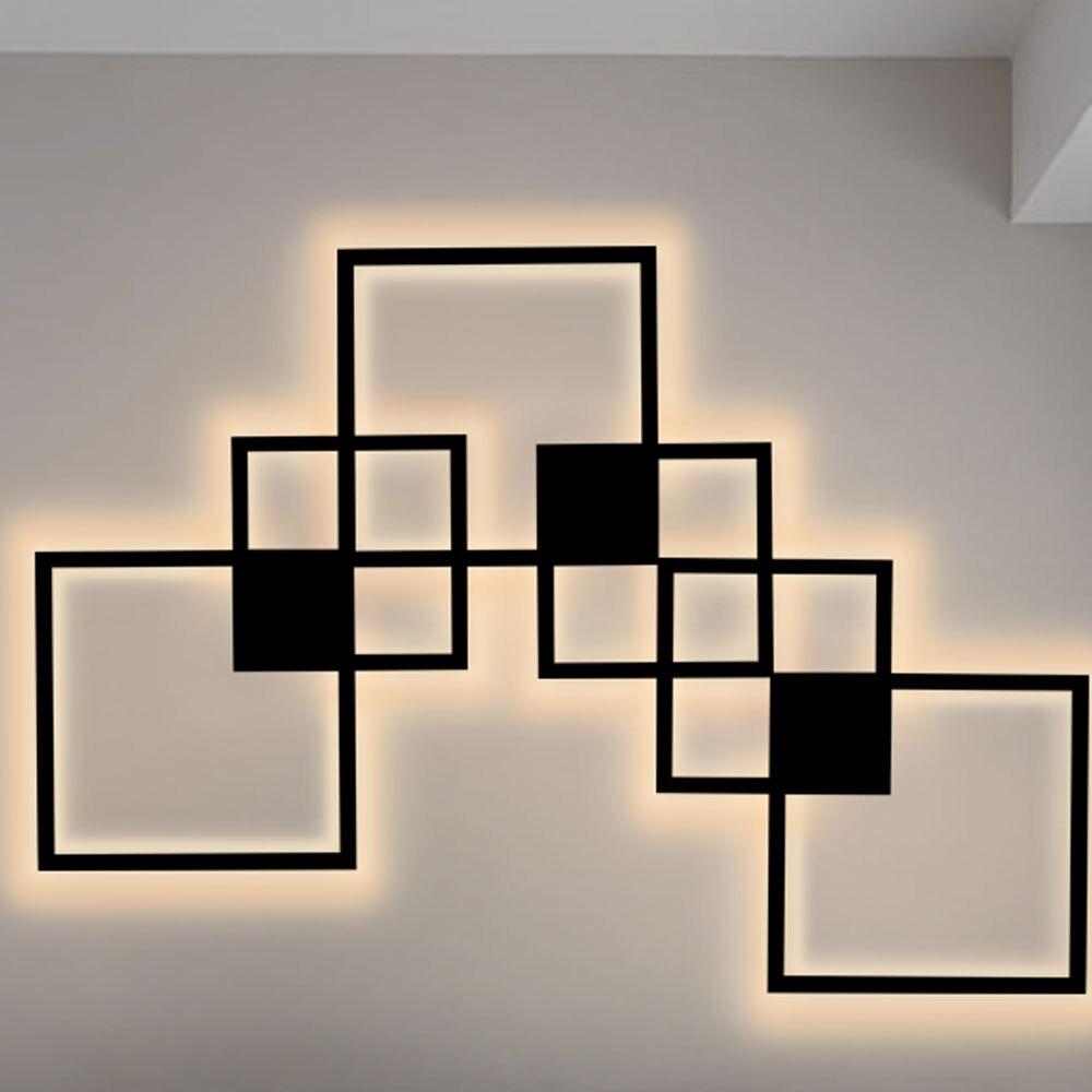 Hartisan مربع الجدار مصباح LED الشمال تصميم غرفة نوم المعيشة ديكور جدار الغرف ضوء خلفية DIY بها بنفسك تركيبات الإضاءة بسيطة