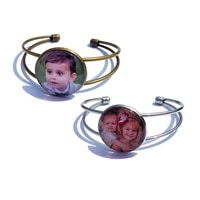 personalized custom photo baby photo name open cuff bangles bracelets for women family lover customized kids gift jewelry