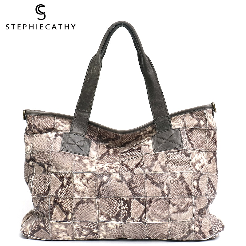 SC-حقيبة كتف نسائية من الجلد الطبيعي ، حقيبة كتف ريترو ، نمط ثعبان ، خليط ، حقيبة سفر غير رسمية ، حقيبة مومياء