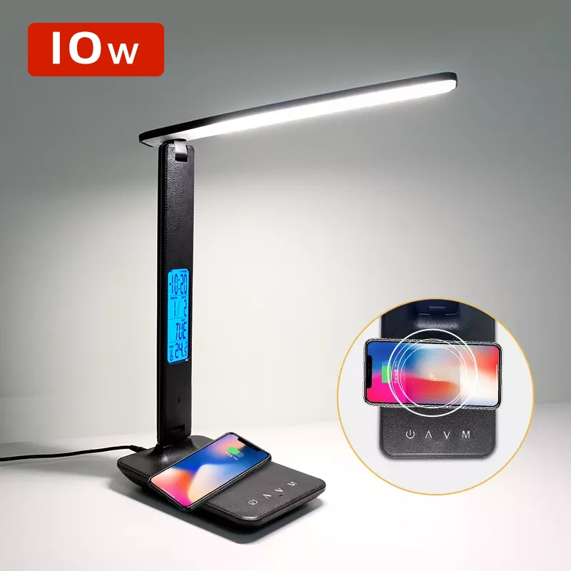 QI Wireless Charging LED Desk Lamp 10W 5V With Calendar Temperature Alarm Clock Eye Protect Reading Light Table Lamp USB Charge