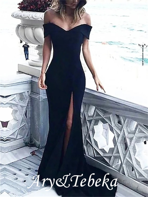Sheath / Column Elegant Prom Formal Evening Dress Off Shoulder Sleeveless Court Train Spandex with S