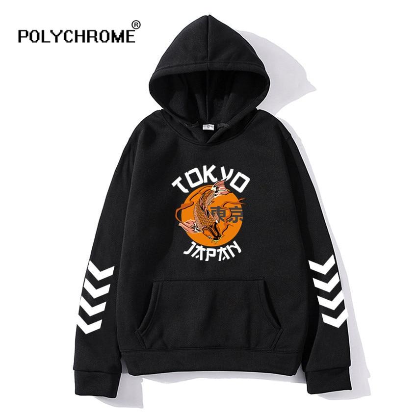 2021 Fashion Japanese Anime Hip Hop Hoodie Harajuku Tokyo Ghoul Koi Fish Men Women Casual Pullover Sweatshirts Hoodies Streetwea