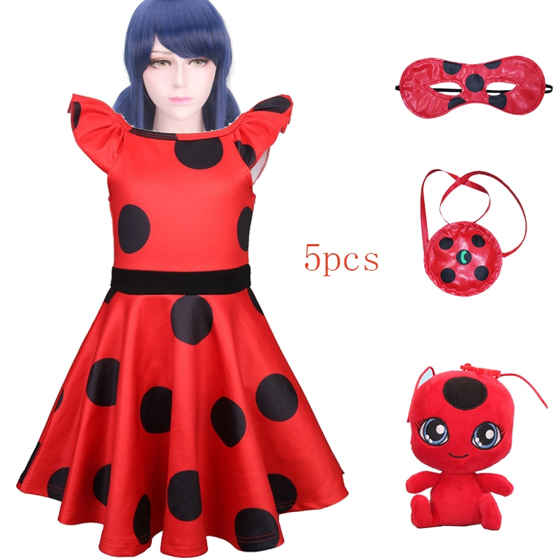 Cosplay de 3-10 años, vestido rojo bonito para niñas, ropa de verano, vestido de fiesta para niñas, vestidos de lunares para niñas, Disfraces para niños