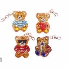 5D DIY شكل خاص الكرتون الدب جولة ألواح تلوين حرفية لامعة غرزة 3D التطريز فسيفساء المفاتيح الأطفال اليدوية هدية