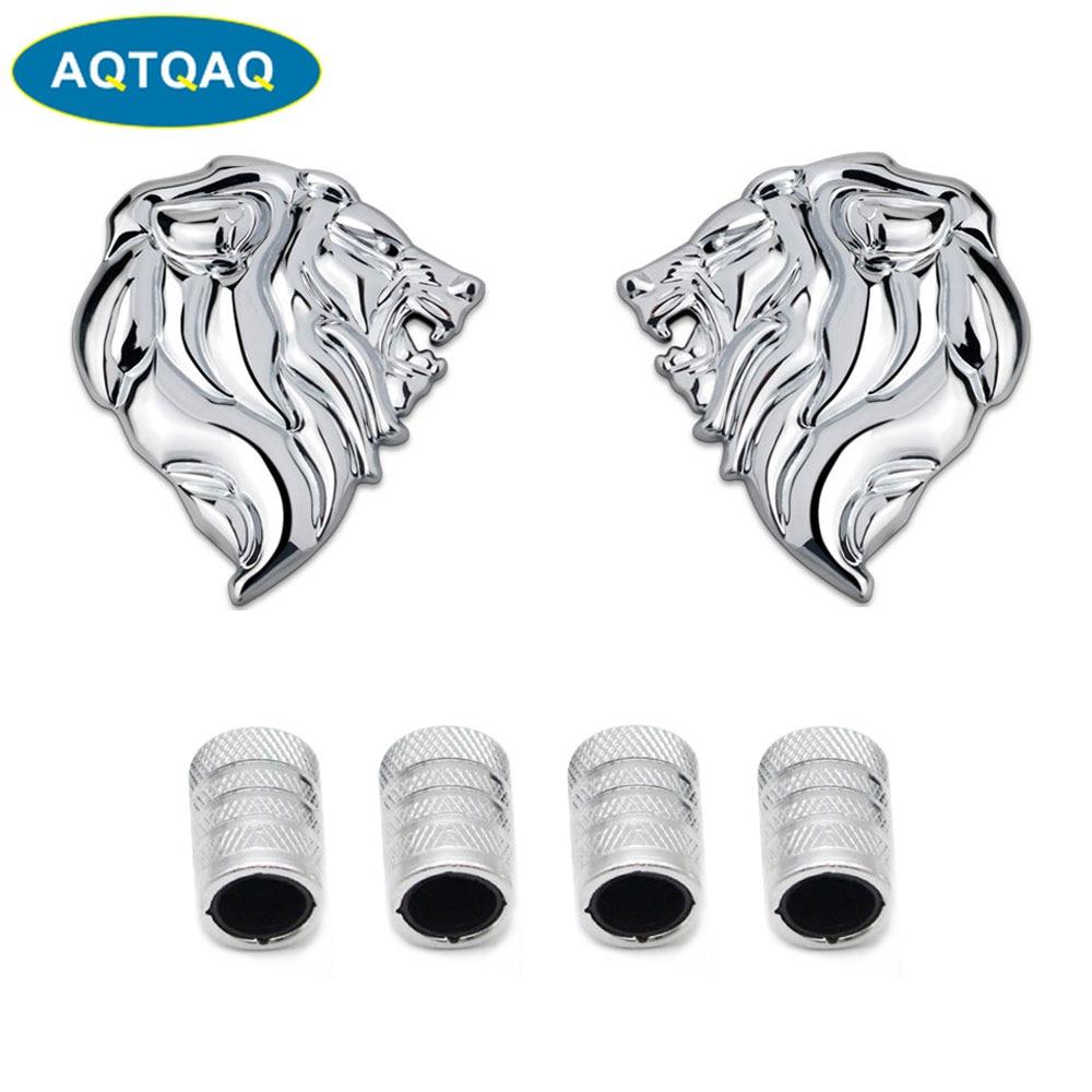 AQTQAQ 3D Metal Lion Head Car Badge Emblem Sticker+4Pcs Knurled Style With Plastic Core Valve Caps for Universal Car