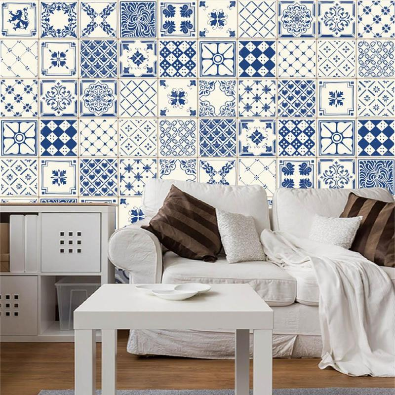 20 piezas adhesivo Retro mosaico cocina baño azulejo pegatina excelente PVC plástico duradero papel pintado a prueba de agua