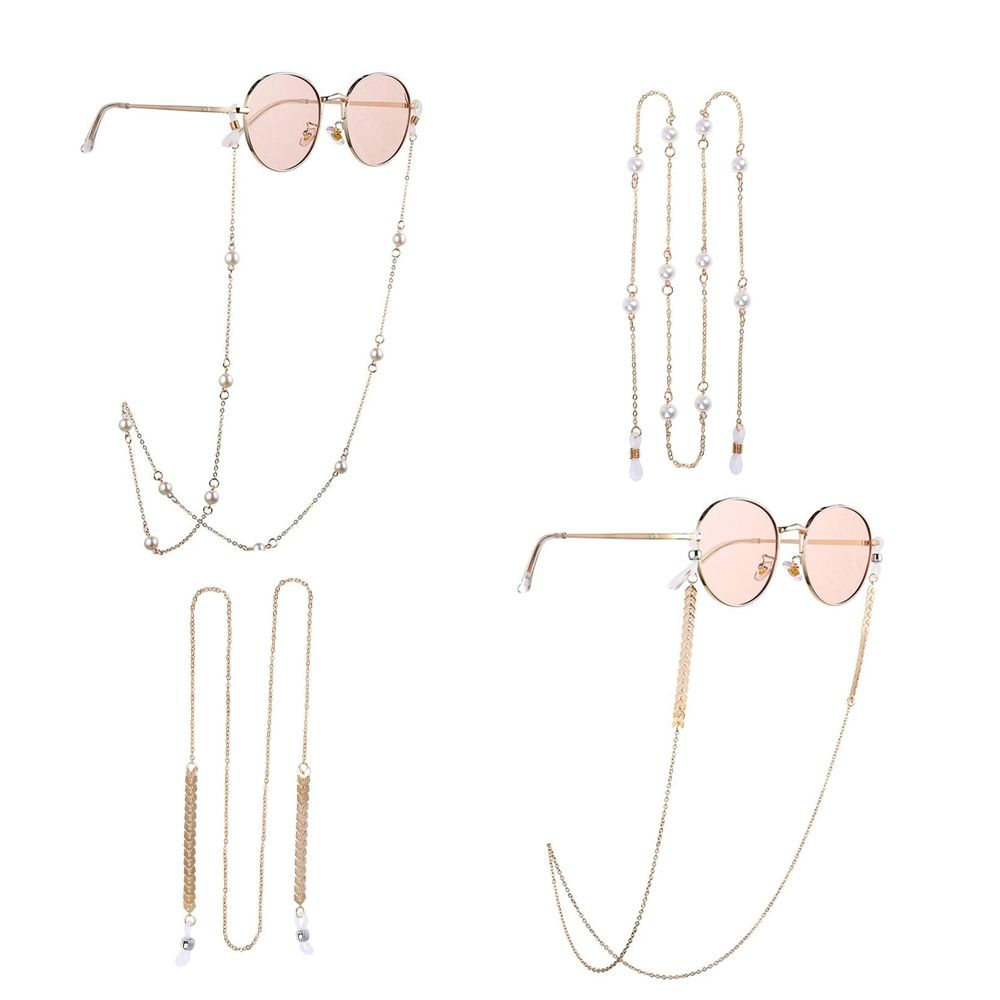 New 2 PCS Pearls Sunglasses Chains Fashion Women Gold Eyeglasses Chains Sunglasses Holder Necklace E
