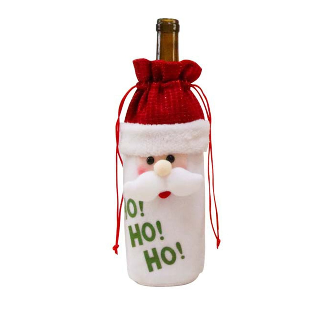 Decoración de Navidad Bolsa de vino muñeca de Navidad Set de vino tinto dibujo animado hombre viejo muñeco de nieve alce seda pantalla vino botella bolsa herramienta