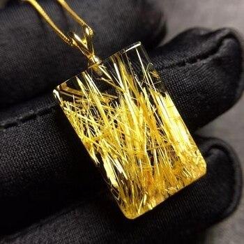 Top Natural Gold Rutilated Quartz Rectangle Pendant 23.6*15.3*4.3mm Wealthy Crystal Rutilated Jewelry Women Men Brazil AAAAAA