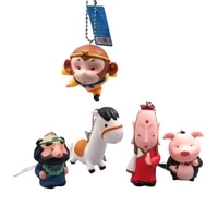 chinese classic journey to the west tang seng monkey king pig bajie junior brother sha white horse doll keychain pendant toy