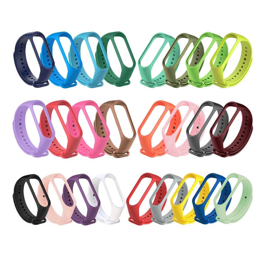 Strap For Xiaomi Mi Band 6 5 4 3 Silicone Wristband Bracelet Replacement For Xiaomi Band 5 6 MiBand 4 3 Wrist Color Soft Strap
