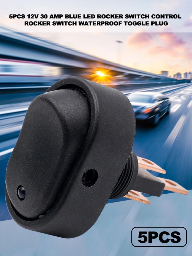 5 uds 12V interruptor para palanca de auto 30 Amp azul LED interruptor basculante de Control interruptor basculante impermeable interruptor de palanca accesorios de modificación