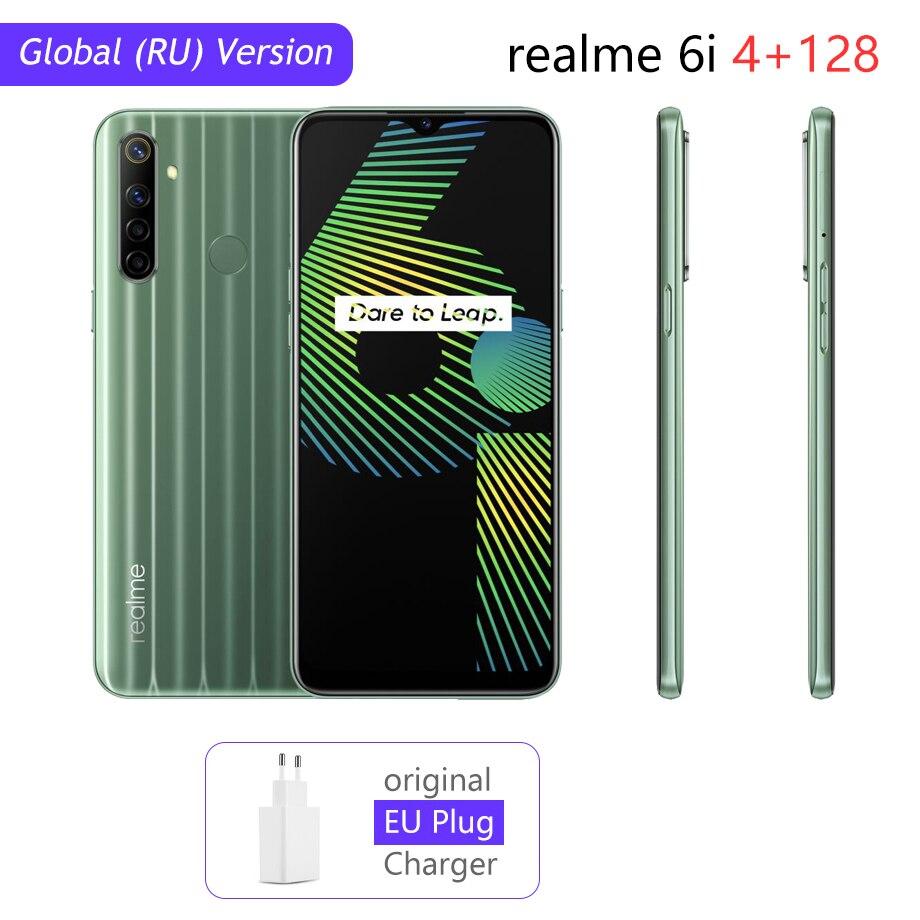 Realme 6i глобальная версия 6 мобильный телефон 4 Гб 128 5000 мА/ч, Батарея Helio G80 6,5 дюйм Дисплей 48MP Камера NFC Play Store для мобильного телефона