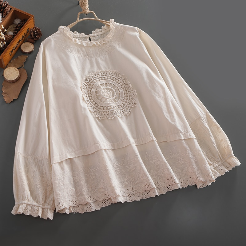 4 colores-Lamtrip Lolita dulce kawaii manga larga suelto circulo algodón gancho encaje stitch patchwork muñeca camisa 2020 otoño