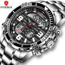 Relogio Masculino LIGE Brand Foxbox Digital Mens Watches Top Luxury Sport Steel Quartz Watch For Men