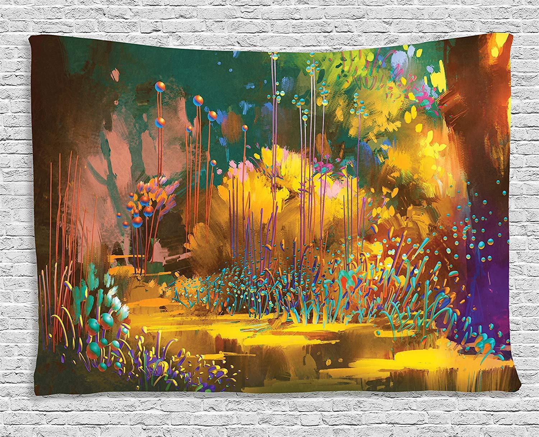 Fantasía arte tapiz bosque con características psicodélicas efectos Hada jungla Boho pared colgante para dormitorio sala de estar