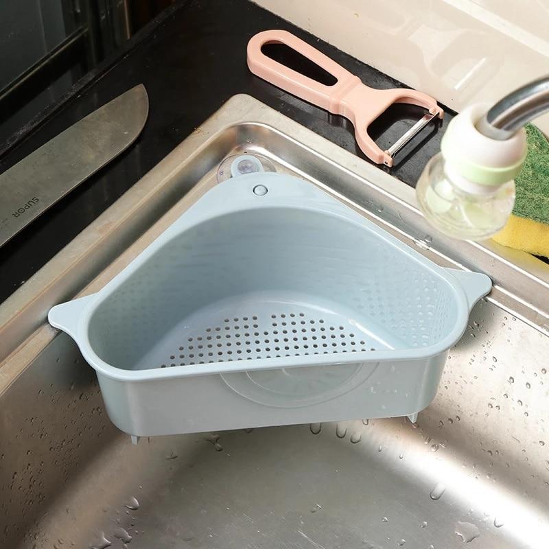 بالوعة متعددة الوظائف تخزين الرف مثلث شكل وعاء غسيل الإسفنج استنزاف رف المطبخ المواد النثرية سلة غسيل معلقة سلة