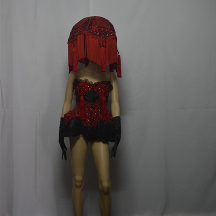 أحمر gogo مرحلة عرض شريط شخصية أداء زي الرصاص راقصة مثير المغني فستان مع غطاء الرأس