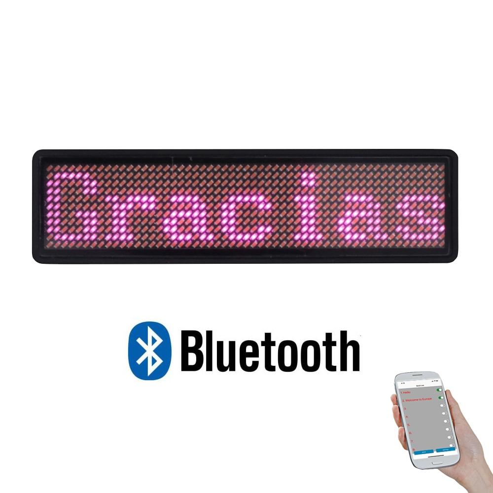 Placa LED Bluetooth mini pantalla LED de desplazamiento de matriz de puntos led 11*55 marca comercial LED ancha para personal camarero hotel conductor