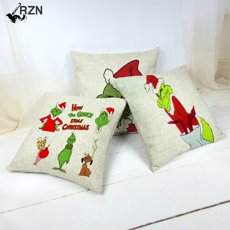 Funny Cartoon Christmas Pattern Cushion Cover Holiday Supplies Cojines Decorativos Para Sof Cartoon