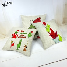 Funny Cartoon Christmas Pattern Cushion Cover Holiday Supplies Cojines Decorativos Para Sof Cartoon