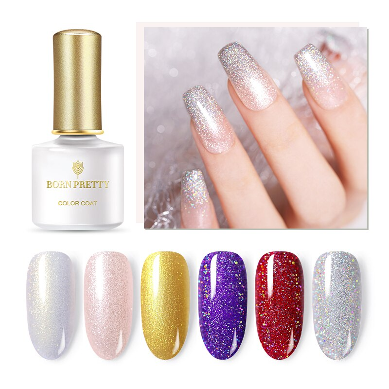 Nake PRETTY 6ml Glitter SequinsHolographic Nail Gel polaco UV LED Gel Rosa oro plata permanente remojo de Gel