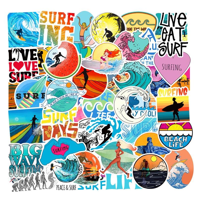 50 Uds. Calcomanías de playa surf Scrapbooking pegatina para teléfono viaje Laptop Skateboard nevera pegatina niños DIY Toy Stickers