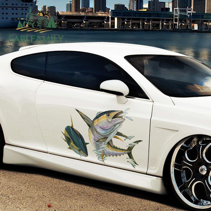 Earlfamily 43cm x 30.4cm etiqueta do carro amarelo aleta atum voando peixe 3d estilo do carro vinil decoração gráfica à prova dwaterproof água decalque do corpo do carro