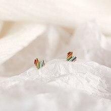 OBEAR aiguille petit bonbon coeur boucles doreilles coloré Mini amour boucles doreilles pour la jeunesse fille femmes bijoux cadeaux