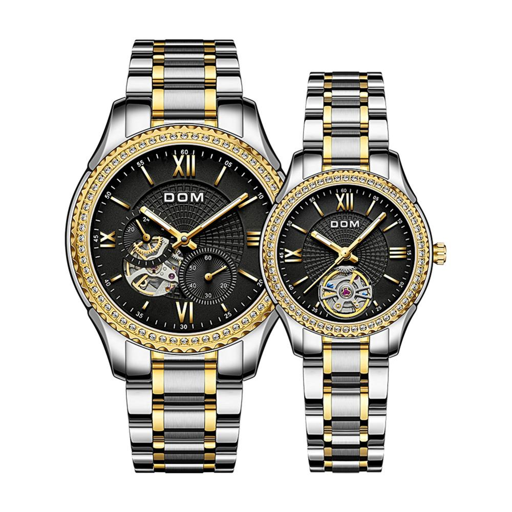 DOM Automatic mechanical watch waterproof men's watch sport business couple watch women's watch  stainless steel  luminous