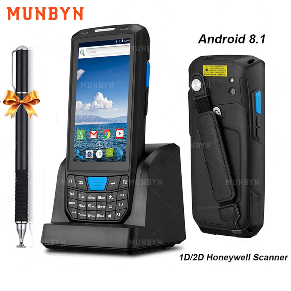MUNBYN Handheld PDA Android 8.1 Rugged POS Terminal 1D 2D Barcode Scanner WiFi 4G Bluetooth GPS PDA Bar codes Reader