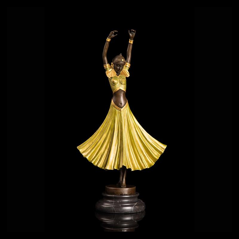 Arte en bronce decoración estatua niña bailarina escultura para casa decoración, amueblamiento