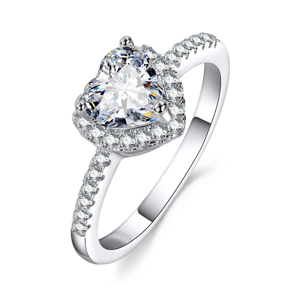 Anillos de boda con forma de corazón de cristal a la moda, anillos de compromiso de circonita para mujer, joyería Glamour