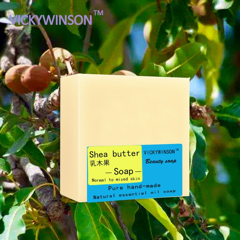 VICKYWINSON Shea butter handmade soap 100g Natural 100% Organic Moisturizing For Hair Dry Skin Sunscreen Repairing Skin Care