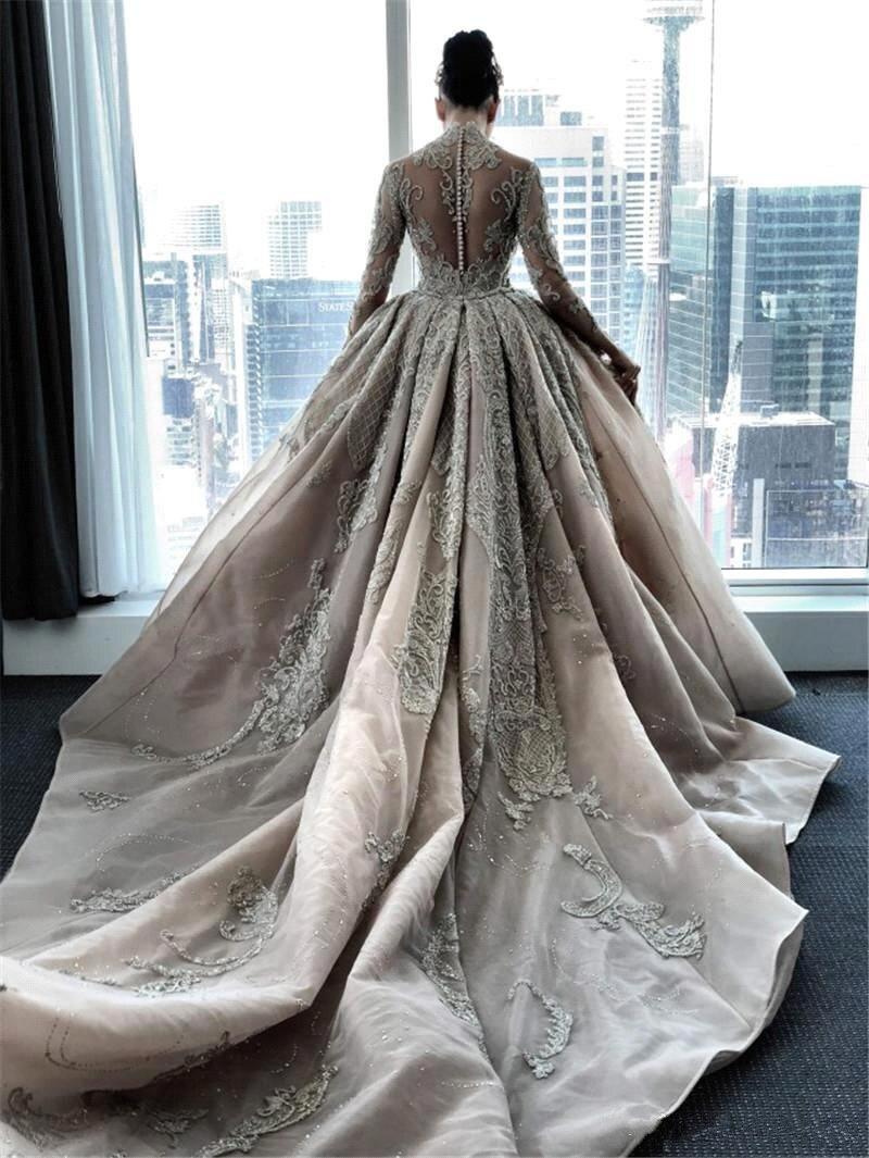 فستان زفاف حورية البحر من الدانتيل واللؤلؤ ، طويل ، أنيق ، ياقة عالية ، مع تنورة قابلة للفصل ، 2020