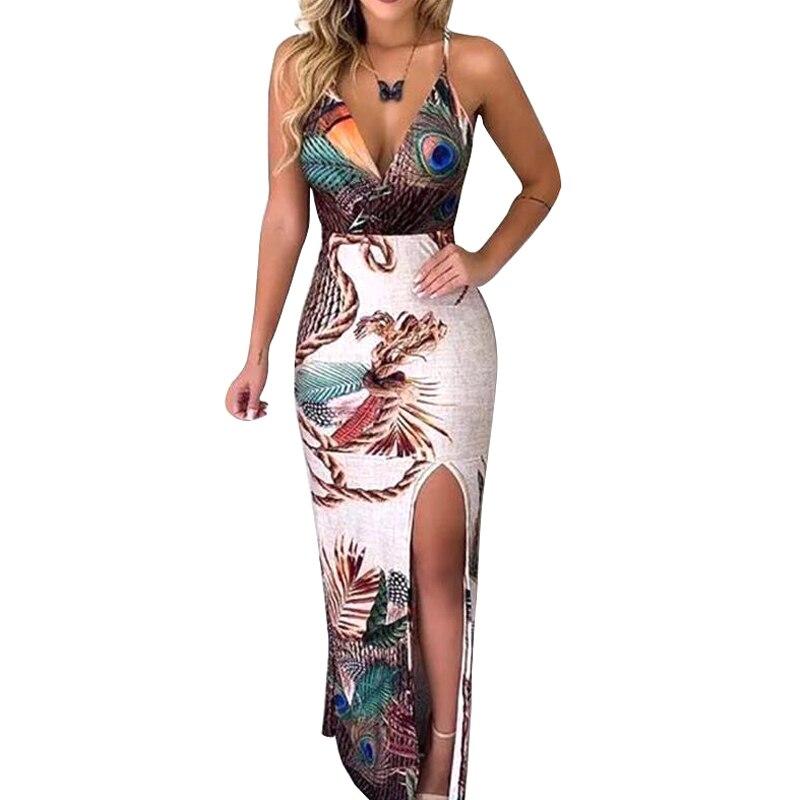 Nice Pop mujeres sin mangas Pavo Real pluma impresión muslo Slit Maxi vestido para fiesta de verano Pop 88