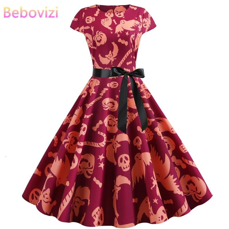 Bebovizi 2019 otoño Halloween mujeres Vestidos corto Shantou Ghost Print elegante fiesta Vestidos de talla grande Vintage vestido de vendaje