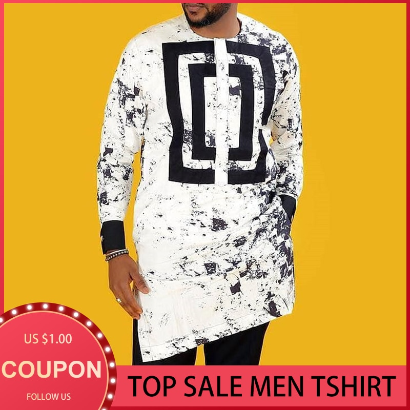 الأفريقية Dashiki طويلة قميص الرجال طباعة الهبي الرجال موضة ملابس مسلم 2021 الصيف رجل قمصان غير رسمية حجم كبير الأبيض M-4XL