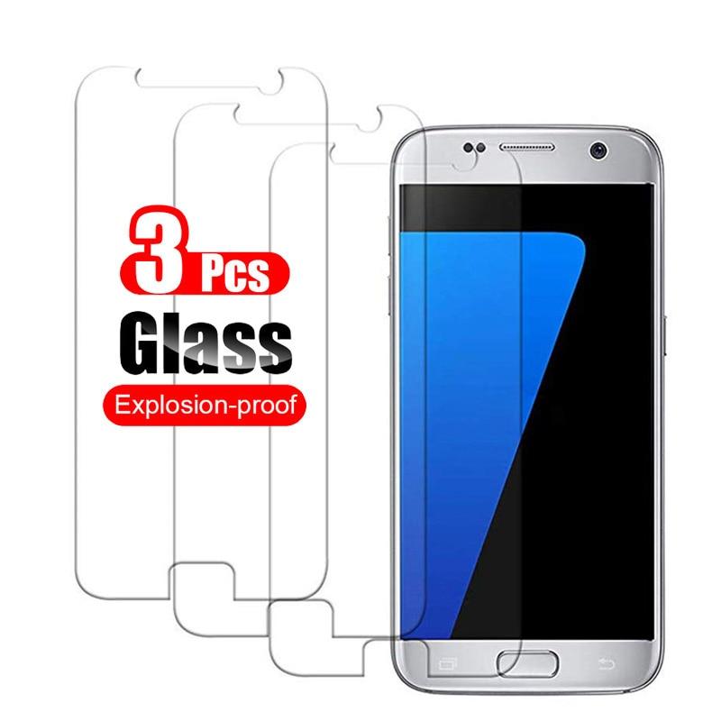3 uds. Vidrio SamsungS7 para Samsung Galaxy S7 S6 S5 vidrio Protector Sansung Sumsung S 7 6 5 película Protector de pantalla Vidrio Templado