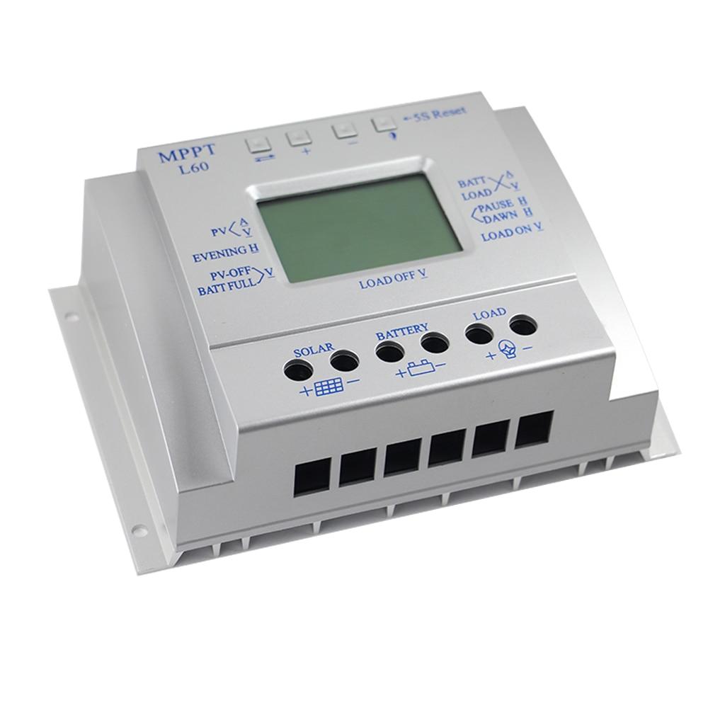 60A الشمسية جهاز التحكم في الشحن شاشة الكريستال السائل منظم الطاقة الشمسية 12/24V مع ضوء صندوق مؤقت للاستحمام متوافق جهاز تحكم في الشحن مزود بمتت...