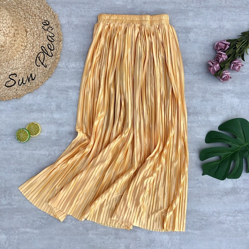Primavera otoño nueva falda de brillo de metal largo de Color sólido de alta cintura faldas plisadas para mujer de moda all-match Sliming partido falda