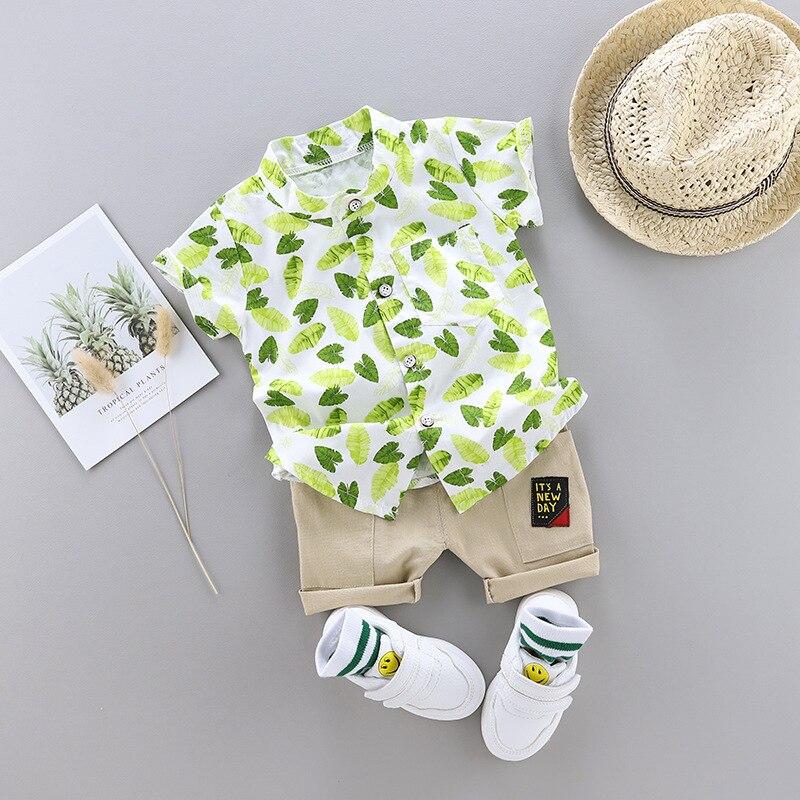 ¡Novedad de 2020! Conjunto de ropa informal de verano para niños pequeños, traje de boda con estampado de hojas, conjunto de ropa infantil para niños