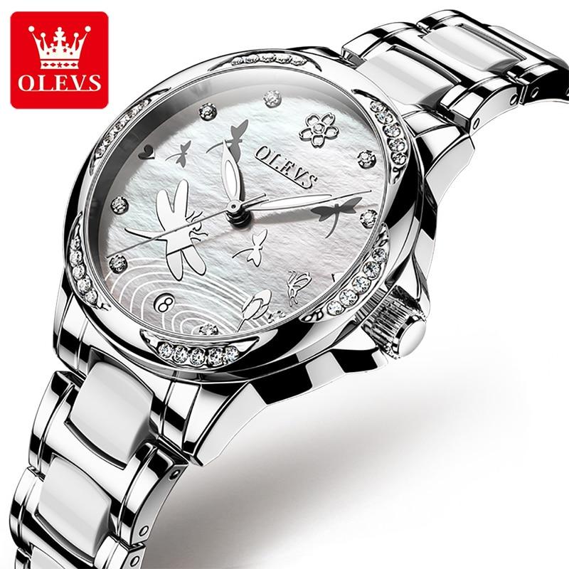 OLEVS 2021 New Casual Ladies Ceramic Steel Belt Watch Fashion Automatic Mechanical Diamond Luminous Waterproof Dial Watches 6610 enlarge