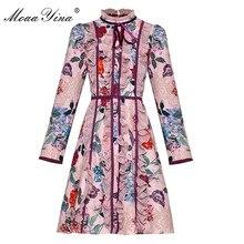 MoaaYina Designer de Moda Runway vestido Primavera Verão As Mulheres Se Vestem Vestidos de manga Longa gola Ruffles Floral-Print