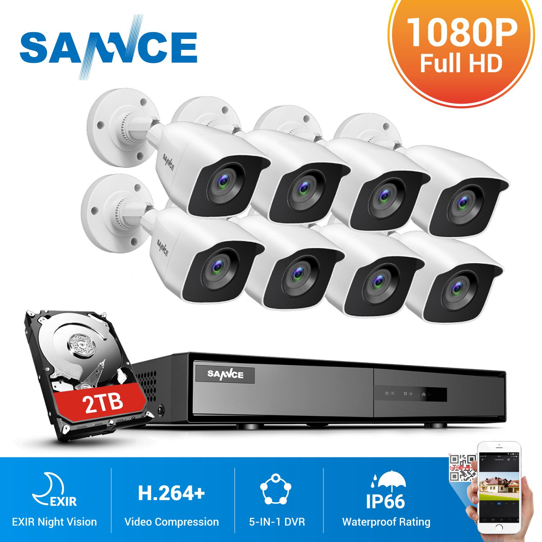 SANNCE 8CH 1080P لايت DVR CCTV نظام 4/8 قطعة FD 2.0MP الأمن كاميرات IR في الهواء الطلق IP66 فيديو مراقبة كيت كشف الحركة